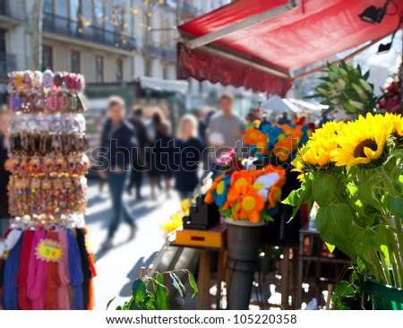 Barcelona Ramblas street life from flowers market - stock photo