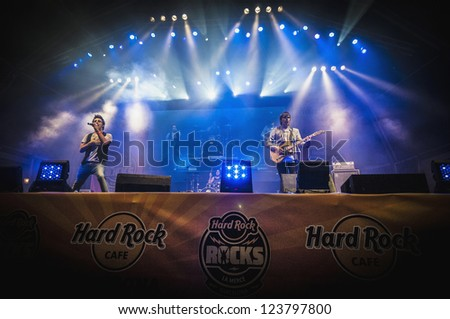 "BARCELONA - SEP 21: Amelie performs at the ""Hard Rock Rocks La Merce"" concert within La Merce celebrations on September 21, 2012 in Barcelona, Spain - stock photo"