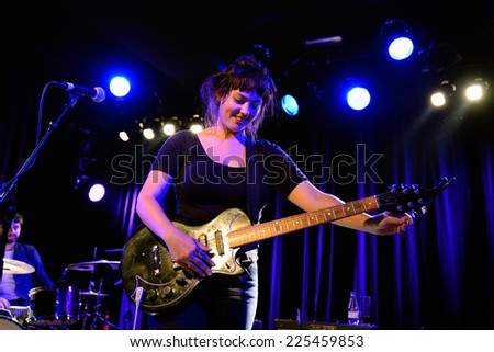 BARCELONA - SEP 30: Angel Olsen (folk and indie rock singer and guitarist) performs at Apolo venue on September 30, 2014 in Barcelona, Spain.