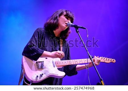 BARCELONA - SEP 19: Blouse (electronic rock band) peformance at Barcelona Accio Musical (BAM) La Merce Festival on September 19, 2014 in Barcelona, Spain.