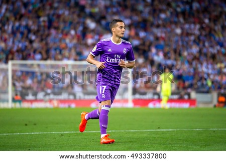 BARCELONA - SEP 18: Lucas Vazquez plays at the La Liga match between RCD Espanyol and Real Madrid CF at RCDE Stadium on September 18, 2016 in Barcelona, Spain.