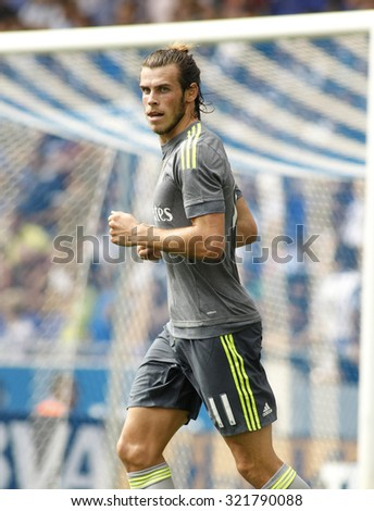 BARCELONA - SEPT, 12: Gareth Bale of Real Madrid during a Spanish League match against RCD Espanyol at the Power8 stadium on September 12 2015 in Barcelona Spain - stock photo