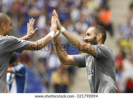 BARCELONA - SEPT, 12: Karim Benzama of Real Madrid celebrating a goal during a Spanish League match against RCD Espanyol at the Power8 stadium on September 12 2015 in Barcelona Spain - stock photo
