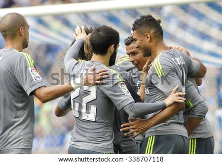 BARCELONA - SEPT, 12: Players of Real Madrid celebrating goal during a Spanish League match against RCD Espanyol at the Power8 stadium on September 12 2015 in Barcelona Spain - stock photo