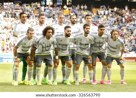 BARCELONA - SEPT, 12: Real Madrid lineup before a Spanish League match against RCD Espanyol at the Power8 stadium on September 12 2015 in Barcelona Spain - stock photo