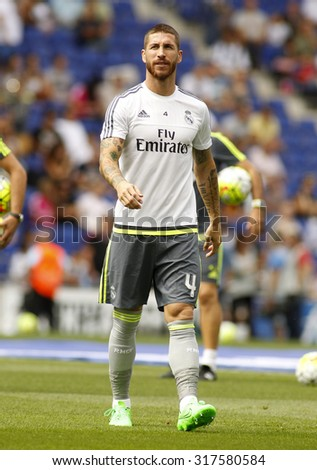 BARCELONA - SEPT, 12: Sergio Ramos of Real Madrid during a Spanish League match against RCD Espanyol at the Power8 stadium on September 12 2015 in Barcelona Spain - stock photo