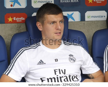 BARCELONA - SEPT, 12: Toni Kroos of Real Madrid during a Spanish League match against RCD Espanyol at the Power8 stadium on September 12 2015 in Barcelona Spain - stock photo