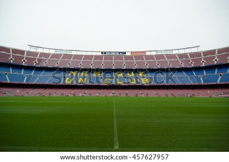 BARCELONA - SEPTEMBER 22, 2014: Camp Nou is a largest stadium in Europe. It has been the home of FC Barcelona since its completion in 1957. Barcelona, Catalonia, Spain.