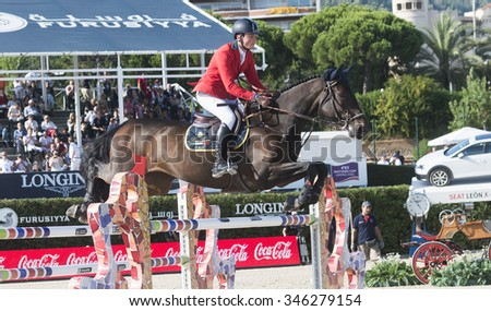 BARCELONA - SEPTEMBER 24: Lorenzo De Luca rider in action during the Furusiyya Nations Final Cup in Real Club Polo Barcelona, own September 24, 2015, Barcelona, Spain.