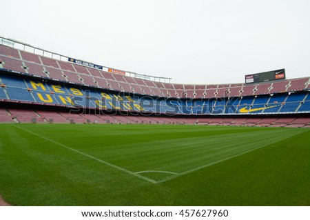 BARCELONA - SEPTEMBER 22, 2014: Nou Camp is a largest stadium in Europe and the second largest association football stadium in the world. Barcelona, Catalonia, Spain.