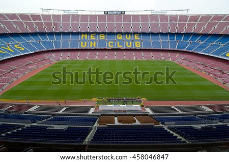 BARCELONA - SEPTEMBER 22, 2014: One of the stands displaying Barcelona's motto, Mes que un club, meaning More than a club. Camp Nou, Barcelona, Spain.