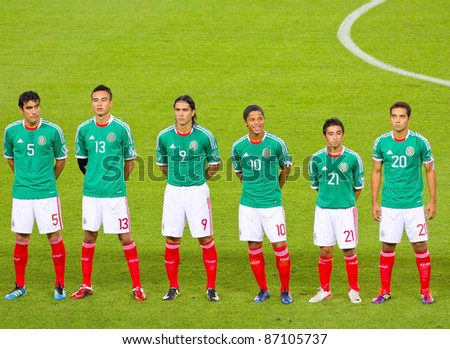 BARCELONA - SEPTEMBER 4: Players of Mexico before the friendly match between Mexico and Chile, final score 1 - 0, on September 4, 2011, in Cornella stadium, Barcelona, Spain. - stock photo