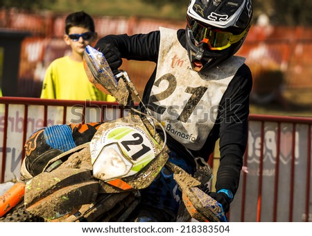 BARCELONA - SEPTEMBER 7: Rider at 24 HOURS ENDURANCE RACE at Lli�§a Circuit on September 7, 2014 in Barcelona, Spain.  - stock photo
