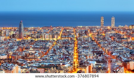 Barcelona skyline, Aerial view at night, Spain - stock photo