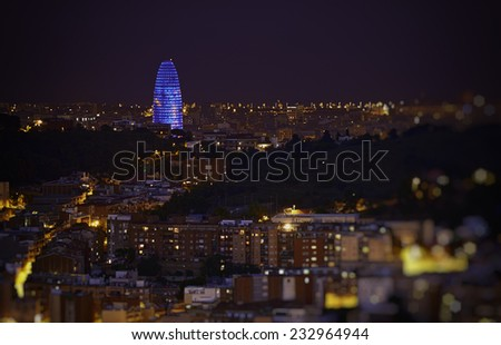 Barcelona skyline at night from mount of Tibidabo. - stock photo