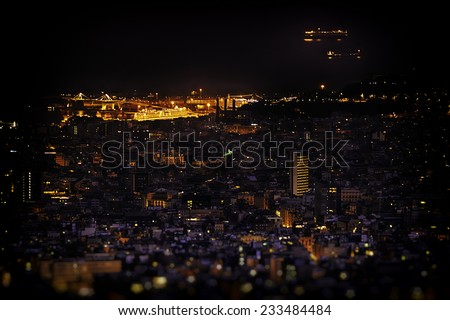 Barcelona skyline at night from Tibidabo Montain. - stock photo
