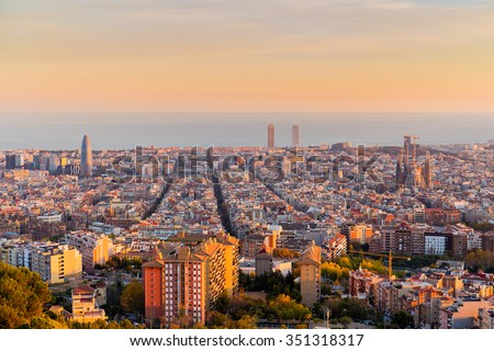 Barcelona skyline in te afternoon at Golden Hour
