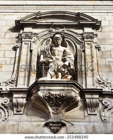 Barcelona. Spain. Angel statue detailed old architecture facade.  - stock photo