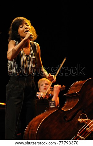 BARCELONA, SPAIN - APR 10: Esperanza Spalding band performs at Auditori on April 10, 2011 in Barcelona, Spain.