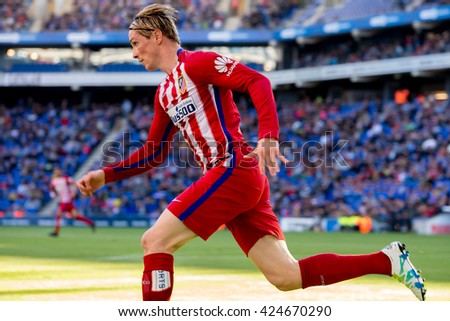 BARCELONA, SPAIN - APR 9: Fernando Torres plays at the La Liga match between RCD Espanyol and Atletico de Madrid at the Powerade Stadium on April 9, 2016 in Barcelona, Spain. - stock photo