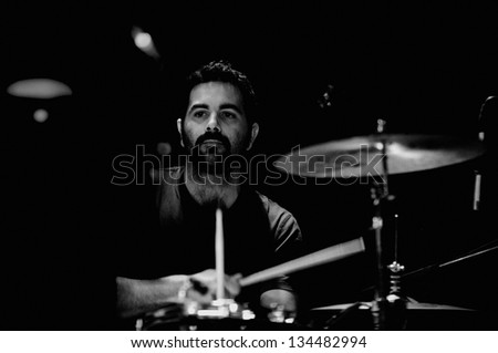 BARCELONA, SPAIN - APR 29: Pony Bravo band drummer performs at KGB on April 29, 2011 in Barcelona, Spain. - stock photo