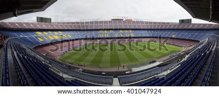 Barcelona, Spain - April 04, 2016: A general view of the Camp Nou Stadium just one day before of the match between Futbol Club Barcelona and Atlético Madrid Champions League quarter final. - stock photo