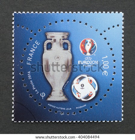 BARCELONA, SPAIN - APRIL 11, 2016: a postage stamp printed in France commemorative of 2016 UEFA European Football Championship in France, circa 2016.  - stock photo