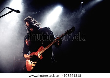 BARCELONA, SPAIN - APRIL 4: Black Box Revelation band performs at Music Hall on April 4, 2012 in Barcelona, Spain.