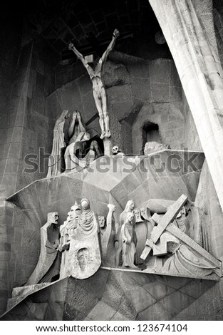 BARCELONA, SPAIN - APRIL 26, 2012: Detail of the main facade of Sagrada Familia Cathedral. The structure was designed by the spanish architect Antoni Gaudi in 1882.