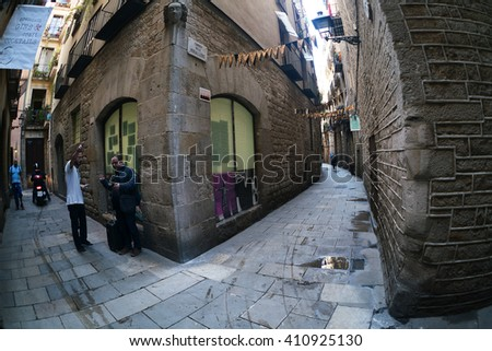 Barcelona, Spain - April 07, 2016:Empty street of Born quarter of Barcelona old town on April 07, 2016. El Born is a trendy area in Barcelona that has become a major tourist attraction.  - stock photo