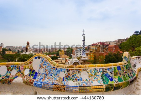 Barcelona, Spain - 24 April 2016: Exterior View of Park Guell by Gaudi in Barcelona.