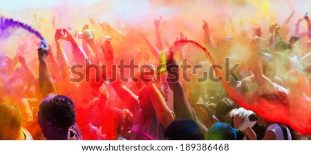 BARCELONA, SPAIN - APRIL 6, 2014:  Festival Holi in Barcelona. Holi is traditional holiday of Indian Culture - stock photo