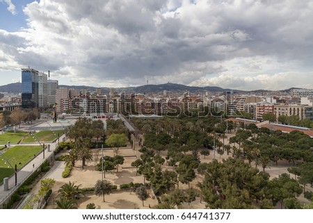 BARCELONA,SPAIN-APRIL 13,2012: General view and square Joan Miro,Barcelona.