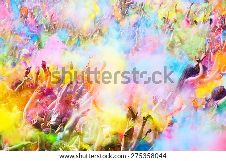 BARCELONA, SPAIN - APRIL 12, 2015: Happy people during   Festival of colours Holi Barcelona. Holi is traditional holiday of India  - stock photo