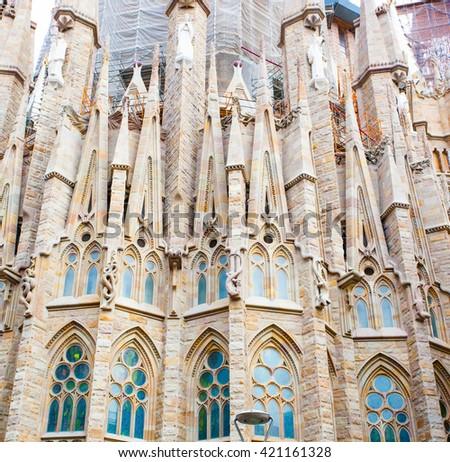 BARCELONA, SPAIN - 25 April 2016: La Sagrada Familia - cathedral designed by Gaudi - stock photo