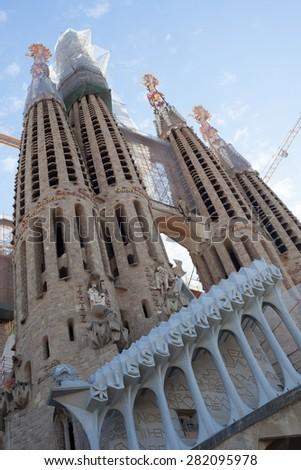 BARCELONA, SPAIN - APRIL, 2015: La Sagrada Familia in Barcelona - stock photo