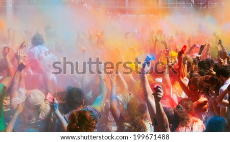 BARCELONA, SPAIN - APRIL 6, 2014: People at Festival of colors Holi Barcelona. It is traditional holiday of India - stock photo