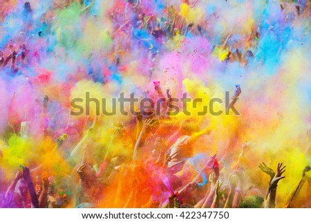 BARCELONA, SPAIN - APRIL 12, 2015: People during   Festival of colours Holi Barcelona. Holi is traditional holiday of India  - stock photo