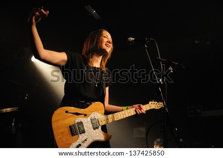 BARCELONA, SPAIN - APRIL 26: Sophie Hunger, band from Switzerland, performs at Apolo on April 26, 2013 in Barcelona, Spain. - stock photo
