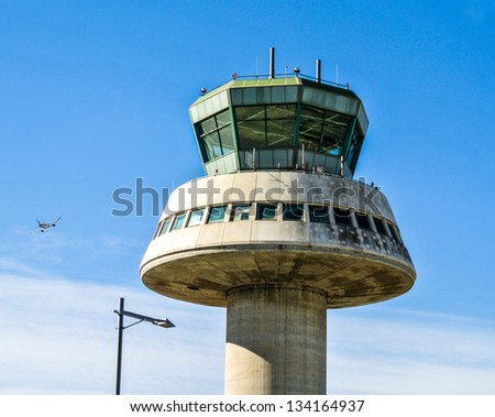 BARCELONA, SPAIN - APRIL 1: The control tower of El Prat-Barcelona airport. This airport was inaugurated in 1963. April 1, 2013 in Barcelona, Catalunya, Spain