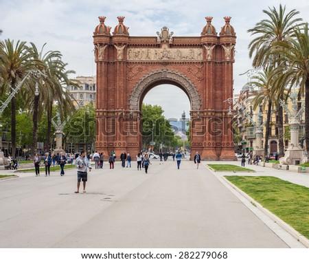 BARCELONA, SPAIN - APRIL, 2015: Triumphal arch in Barcelona - stock photo