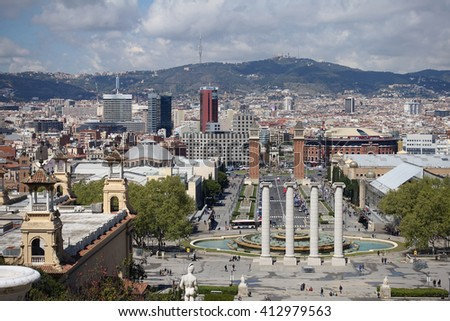 Barcelona, Spain - April 08, 2016: View from Montjuic to Plaza de Espana including the four columns and the venetian towers in Barcelona, Spain