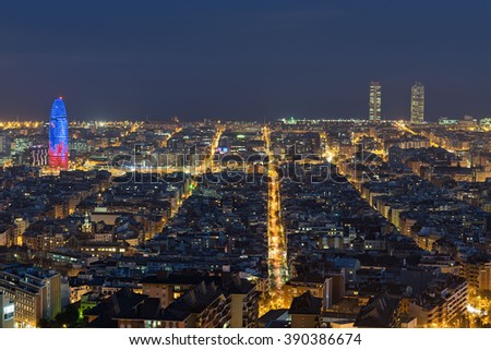 Barcelona (Spain) at night from Carmel hill