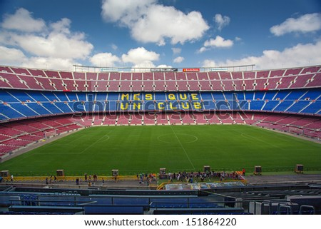 BARCELONA, SPAIN - AUG 06: Panoramic view of FC Barcelona stadium Camp Nou on August 06 2013 in Barcelona, Spain. By capacity its the largest stadium in Europe