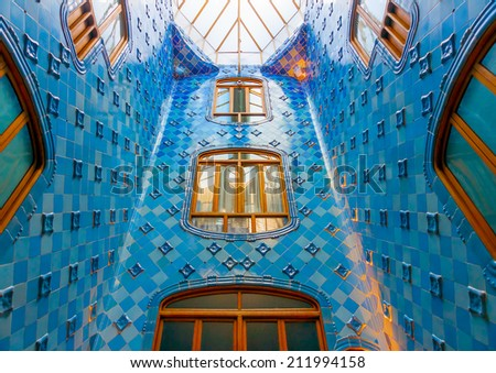 BARCELONA, SPAIN -AUG 30, 2009: The interior of the famous casa Battlo building designed by Antonio Gaudi in Barcelona, Spain on Aug 30, 2009. - stock photo