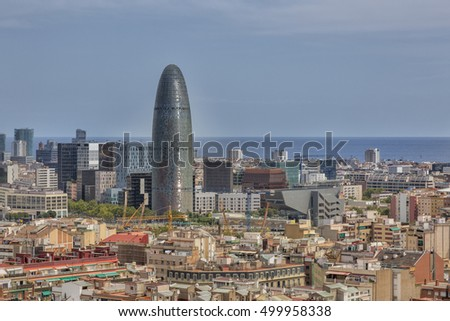 Barcelona, Spain - August 10, 2016; Barcelona View of the Agbar Tower that stands out among the other buildings