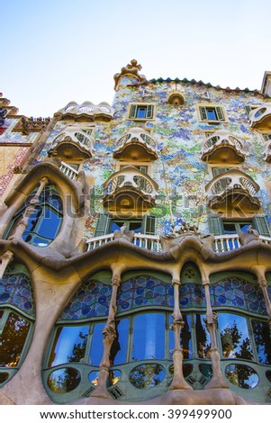 BARCELONA, SPAIN - AUGUST 14, 2011: Casa Batllo building in Barcelona in Spain. It is also called as House of Bones. It was designed by Antoni Gaudi - stock photo