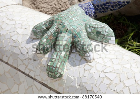"BARCELONA, SPAIN - AUGUST 29: Detail of  Park Guell, designed by Antonio Gaudi, August 29, 2010 in Barcelona. Part of the UNESCO World Heritage Site ""Works of Antoni Gaudi­""."