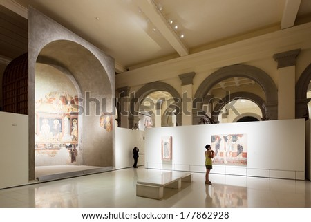 BARCELONA, SPAIN - AUGUST 8: Exhibits of National Art Museum of Catalonia on August 8, 2013 in Barcelona, Spain.  Religious Paintings in the Medieval Romanesque  hall