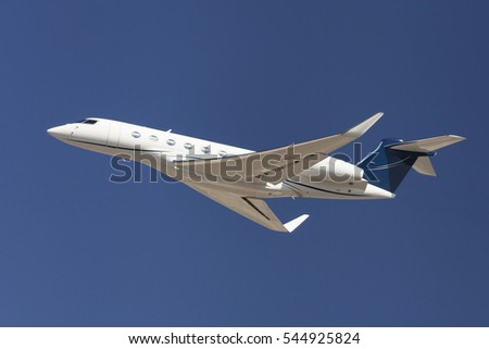 Barcelona, Spain - August 28, 2016: Gulfstream G650 taking off from El Prat Airport in Barcelona, Spain.
